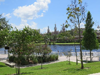 The minarets of the University of Tampa, across the river.