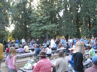 There are tables and bbq pits for large gatherings within the forest. It's a magical setting.