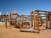 A whole course of monkey bars in a triangle: a first grader's dream!