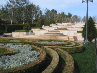 The butterfly-shaped boxwood hedge mazes in the French garden.