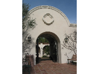 The California mission courtyard entrance.