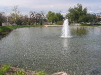 The fountain in the middle of the lake.