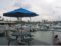 A picnic table by the water, on an overcast day at Koko Marina.