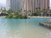 The end of the path- the Hilton Hawaiian Village lagoon.