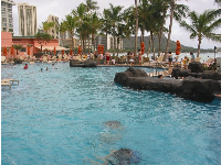 The pool at the Sheraton Waikiki- one of the sights along the path.