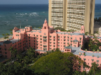 The Royal Hawaiian Hotel from above, and the Sheraton Waikiki behind. What a beauty!