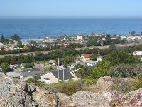 The hotels along Shell Beach Rd, as seen from the great lookout point at Boosinger Park.