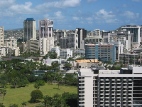 View of Fort DeRussy and downtown Honolulu, as seen from the Tapa Tower.