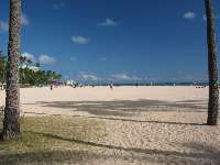 The pristine beach in front of the Hale Koa Hotel.