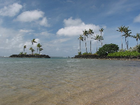 The shallow waters of Kahala Resort Beach.