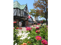 Summer flower boxes in Solvang.