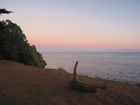 A lone log and sunset over the sea.