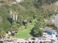 View of sheltered little park at Hendry's Beach, as seen from Douglas Preserve.
