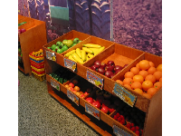 "The fruit market displays where kids can ""shop."""