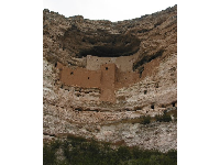 The cliff dwelling, high in the gorgeous multi-layered rock.