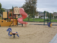 The toddler playground with cute bouncies.