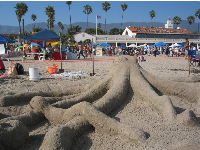 Octopus sand sculpture and the Cabrillo Bathhouse Pavilion beyond.
