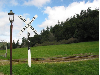 Railroad crossing sign at Roaring Camp.