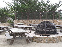 Fire pit and picnic tables.