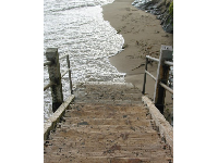 The wooden stairs at high tide!