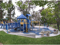Upper level of Grantville Park: the large playground, and smaller playground behind.