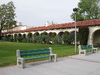 Pleasant bench in courtyard behind Hepner Hall.