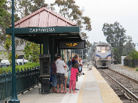 The return train arriving at Carpinteria Station.