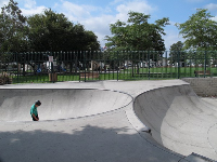 The two sides of the skatepark.