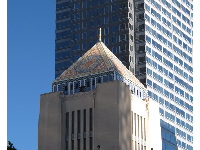 Central Library's tiled mosaic pyramid with Egyptian elements.