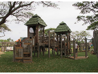 Tops of the play structure are like treetops.