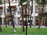 Waikiki Beach Walk shops, near Fort DeRussy.