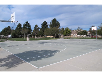The basketball court is in great shape.