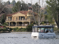 Mansion and electric boat.