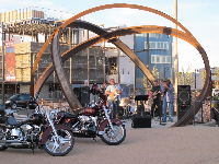 Live music and motorcycles, outside Bex Grill, the cool part of town.