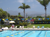 Carpinteria public pool with the mountains behind it- a fun and pretty spot!