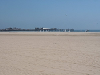 West Beach is a very wide expanse- see the pier (Stearns Wharf) in the distance.