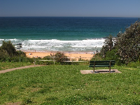 Bench overlooking Warriewood Beach, on Narrabeen Park Parade opposite the cafe.
