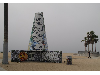 See how large these concrete graffiti towers are compared to the guy walking along.