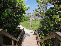 View of intracoastal waterway from the wooden boardwalk that leads out of the beach.