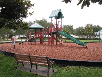 Bench and play structure.