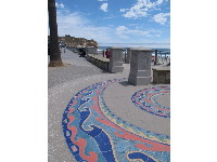 Colorful tile design on the promenade.