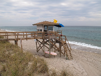 Lifeguard shack at Lantana Beach.