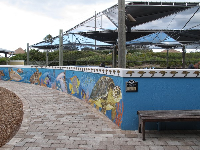 Mural along the wall near the turtle pools.