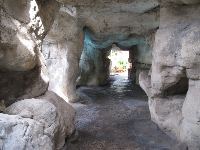 Inside the caves.