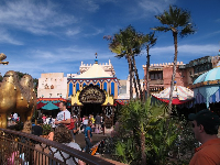 Colorful Agrabah Bazaar, near the Magic Carpet ride.
