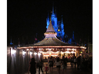 Carousel and blue-lit castle behind.