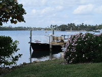 Boat docked on the intracoastal waterway- one of the peaceful scenes along the secret walkway.
