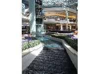 Leaping fountain, elevator, and tiered stream in the middle of the mall.