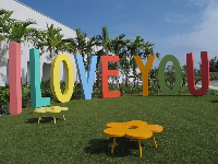 The giant I LOVE YOU on the grass outside the museum!