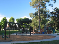 The playground, shaded by trees.